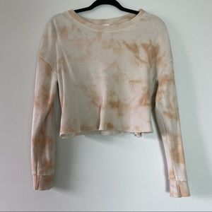 Large Long Sleeve Cropped Waffle Shirt Tie Dye Faded Unique Cozy Comfy